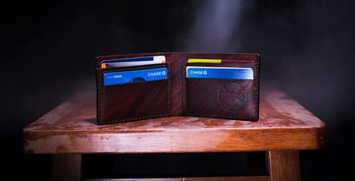 wallet on a table