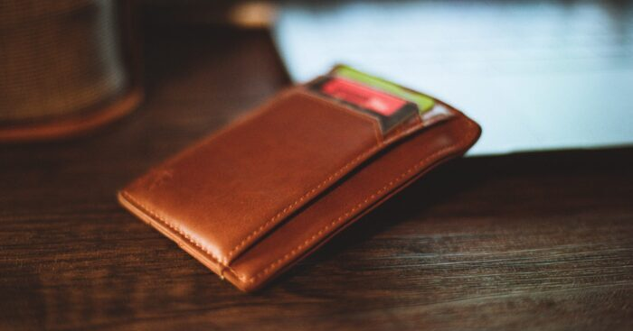 wallet in front of computer