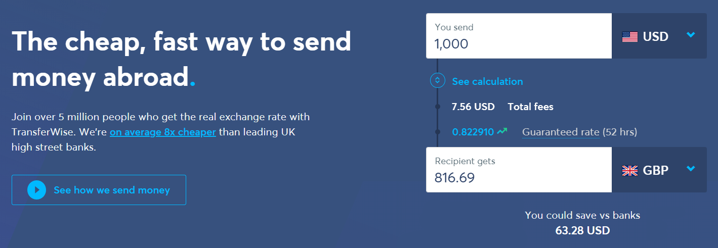 TransferWise frontpage